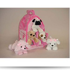 Buy Plush Pink Dog House With Dogs
