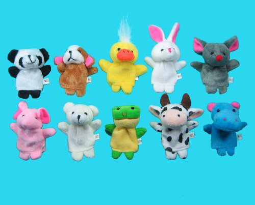 10 Pc Soft Plush Animal Finger Puppet